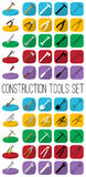 Construction tools set in different style: outline, black and white silhouette, colorfull and isometric. royalty free illustration