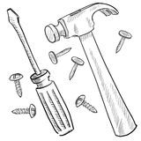 Construction tools sketch Stock Photos
