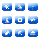 Construction Tools Square Vector Blue Icon Set 2 Stock Image