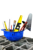 Construction tools three. Everything the tools of the perfect handyman Royalty Free Stock Image