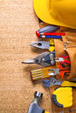 Construction tools  in toolbelt hammer tapeline Royalty Free Stock Images