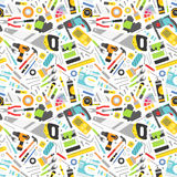 Construction tools vector icons seamless pattern. Royalty Free Stock Image