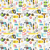 Construction tools vector icons seamless pattern. Royalty Free Stock Photography