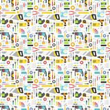 Construction tools vector icons seamless pattern. Stock Photos