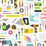 Construction tools vector icons seamless pattern. Hand equipment background  Royalty Free Stock Image