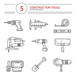 Construction tools. Vector modern line style icons set of construction tools: drill, spatula, shovel, electric jig saw, angle grinder, screwdriver, paint bucket Royalty Free Stock Photo
