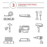 Construction tools. Vector modern line style icons set of construction tools: hammer and nails, screwdriver, wrench, pliers, paint roller, paint bucket, brush Royalty Free Stock Photos