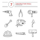 Construction tools. Vector modern line style icons set of construction tools: pliers, drill, spatula, helmet, shovel, saw, electric jig saw, angle grinder Royalty Free Stock Images