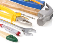 Construction tools on white Stock Images