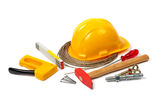 Construction tools on white blank background Stock Images