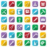 Construction tools white icons set on a color square. Vector industrial signs collection. Construction tools white icons set on a color square. Vector Royalty Free Stock Photo