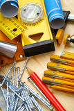 Construction tools on wood Royalty Free Stock Photography