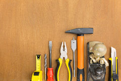 Construction tools on wood background Royalty Free Stock Photography