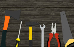 Construction tools on wood texture. Vector illustration Stock Images