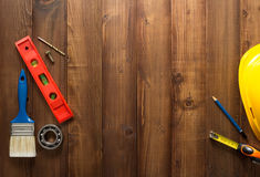 Construction tools on wood Stock Image
