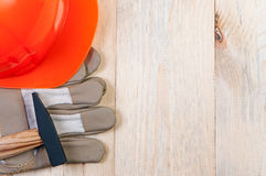 Construction tools on wooden board. Stock Photo