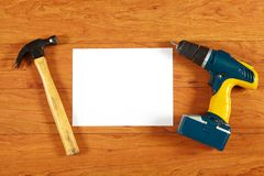 Construction tools on the wooden floor Stock Photo