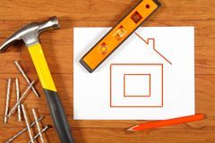 Construction tools on the wooden floor Stock Photography