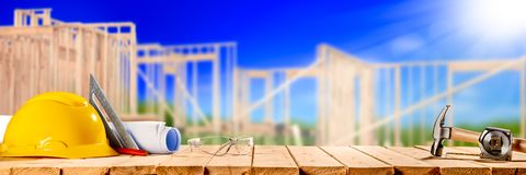Construction Tools On Wooden Table royalty free stock photography