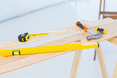 Construction tools on workbench Stock Photo