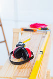 Construction tools on workbench Stock Photography