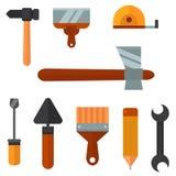 Construction tools worker equipment house renovation handyman vector illustration. Royalty Free Stock Photos