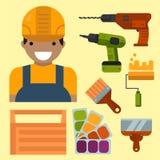 Construction tools worker equipment house renovation handyman vector illustration. Royalty Free Stock Photo