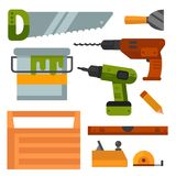Construction tools worker equipment house renovation handyman vector illustration. stock illustration