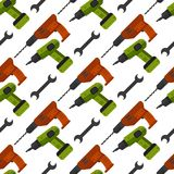 Construction tools worker equipment house renovation seamless pattern background handyman vector illustration. Stock Images