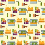 Construction tools worker equipment house renovation seamless pattern background handyman vector illustration. Royalty Free Stock Photos