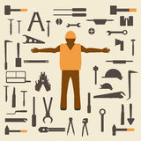 Construction tools and worker silhouette icons set.  Design suitable   illustration. Stock Photo