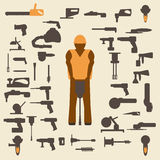 Construction tools and worker silhouette icons  set. Design suitable and  . Royalty Free Stock Images