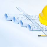 Construction tools with yellow hard hat Stock Photo