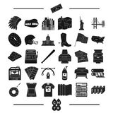 Construction, tourism, isport and other web icon in black style.tools, business, roulette, icons in set collection. Royalty Free Stock Photos