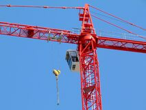 Free Construction Tower Crane Detail In Bright Red Color. Steel Truss Structure And Hoist. Stock Images - 180235614