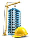 Construction tower crane, helmet and model house stock illustration