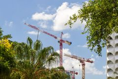 Construction tower cranes stock image