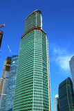 Construction of the tower Eurasia of business center Moscow City Royalty Free Stock Photos
