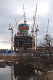 Construction of the tower Lakhta Center in St. Petersburg stock photo