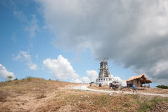 Construction of a tower at the top of the mountain Stock Photo