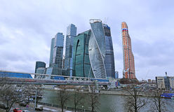 Construction of Towers business center in Moscow Royalty Free Stock Image