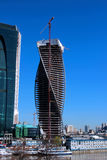 Construction of Towers business center Moscow City Stock Photography