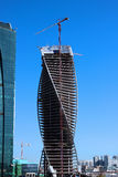 Construction of Towers business center Moscow City Stock Photo
