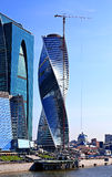 Construction of Towers Evolution business center Moscow City. On July 12, 2014 in Moscow Stock Photos
