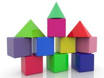 Construction of toy blocks with towers.3d illustration. In backgrounds vector illustration