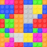 Construction toy bricks. Colored building blocks set as seamless pattern. Vector illustration royalty free illustration