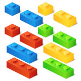 Construction toy cubes. Connector bricks. 3D isometric set. Game block, construction block toy, brick plastic toy, cube toy illustration Royalty Free Stock Photos