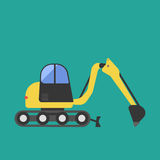 Construction tractor transportation vehicle mover road machine equipment vector. Stock Photo