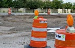 Construction/Traffic Safety Barrel. Traffic safety barrels at roadway construction site Royalty Free Stock Image