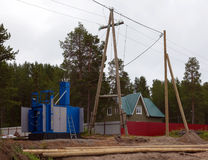 Construction of transformer substation and transmission line Stock Photos